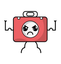 Kawaii cute angry briefcase and medical kit vector