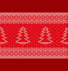 knit xmas geometric ornament with christmas tree vector image
