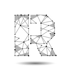 low poly letter r english latin polygonal vector image vector image