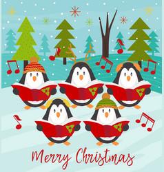 Merry christmas card with choir penguins vector