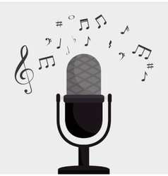microphone retro clef note music vector image