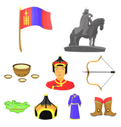 mongolian national characteristics icons set vector image