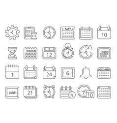 mono line pictures set of time managements symbols vector image