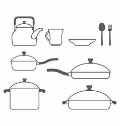 Set of dishes Kitchen utensils of lines vector image
