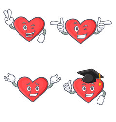 Set of heart character with two finger wink vector