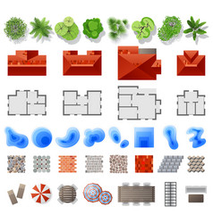 set of landscape design elements vector image vector image