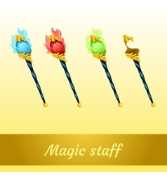 Set of magic tools magician four scepters vector image vector image