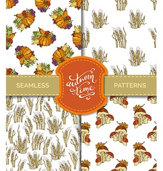 Set of seamless autumn patterns vector