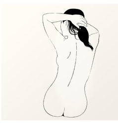 Sketch of naked woman back view vector