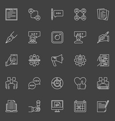 Social media and blog concept icons vector