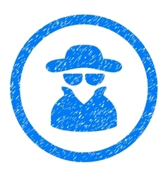 Spy rounded icon rubber stamp vector
