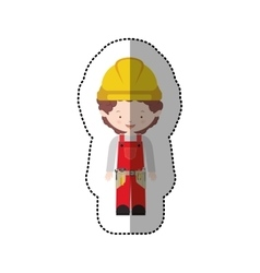 Sticker avatar worker with toolkit and curly hair vector