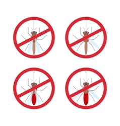 Stop mosquito sign in red circle vector