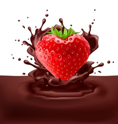 Strawberry heart with chocolate vector image vector image