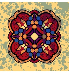 Vintage four sided symmetrical mandala pattern vector
