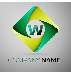 W letter colorful logo in the rhombus template for vector