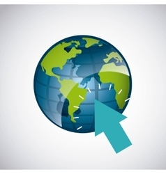 world planet with arrow pointer vector image