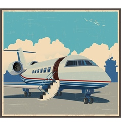 Private aviation retro poster vector