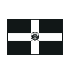Dominican republic flag monochrome on white vector