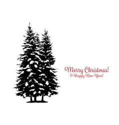 Christmas card with pine tree for your design vector