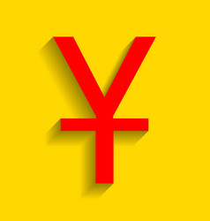 Chinese yuan sign  red icon with soft vector