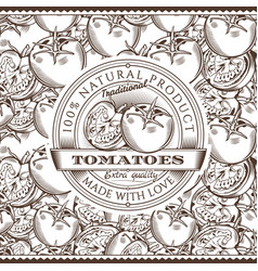 Vintage tomatoes label on seamless pattern vector