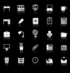 Workspace icons with reflect on black background vector