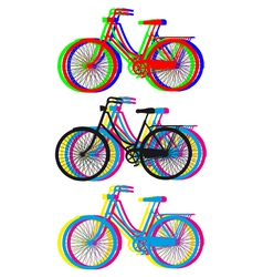 colorful bicycle silhouettes set vector image