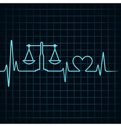 Heartbeat make a weighing machine and heart symbol vector