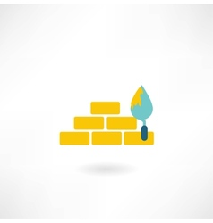 Bricks with trowel icon vector