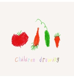 Child drawing of vegetables vector