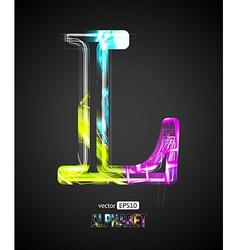 Design Light Effect Alphabet Letter L vector image