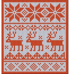 Knitted pattern with reindeer and jacquard flowers vector