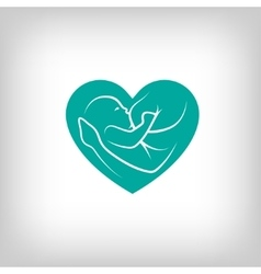 Breast feeding heart shaped sign vector image