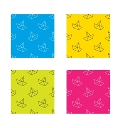 Paper boat icon origami ship sign vector