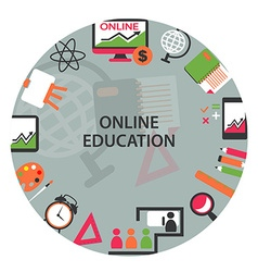 Online education emblem vector