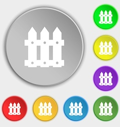 Fence icon sign symbols on eight flat buttons vector