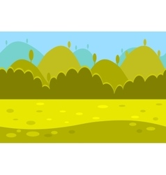 Cartoon landscape of green meadows hills and vector