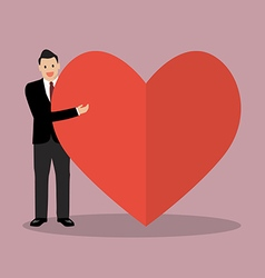 Businessman presenting the big heart vector