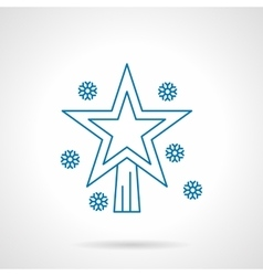 Christmas bauble star thin blue line icon vector