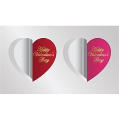 Red and pink heart folding vector
