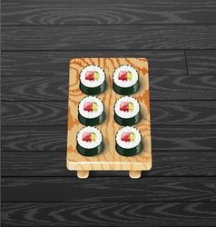 Sushi roll set japanese sushi vector