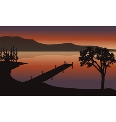 Pier at sunrise scenery vector