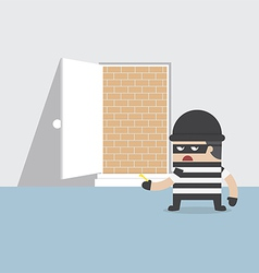 A thief cannot get through the safety door vector