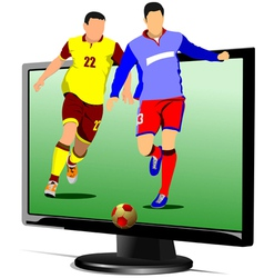 al 0839 monitor and soccer vector image