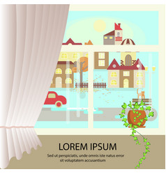 autumn colorful landscape banner vector image vector image