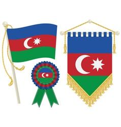 azerbaijan flags vector image vector image