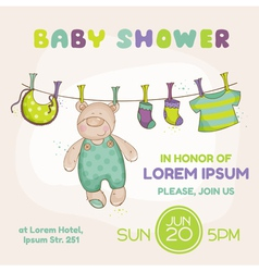 Baby bear shower card vector