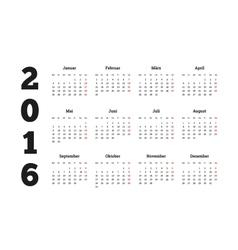 Calendar 2016 year on german language A4 sheet vector image vector image
