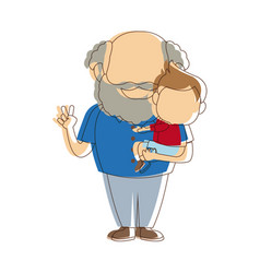 Cartoon happy grandpa and his grandson family vector